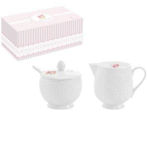 Набор из сахарницы с ложкой и сливочника Уютный Дом-Розы