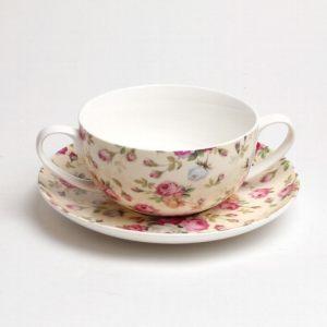 Чашка на блюдце суповая Английские розы