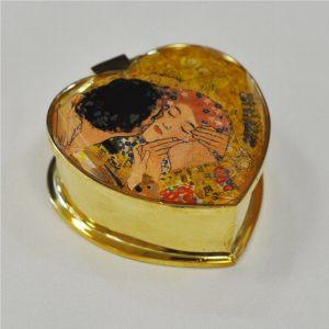 Шкатулка металлическая Поцелуй в форме сердца 6х6 см