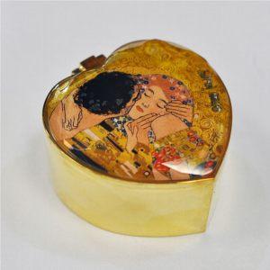 Шкатулка металлическая Поцелуй в форме сердца 7,5х8 см