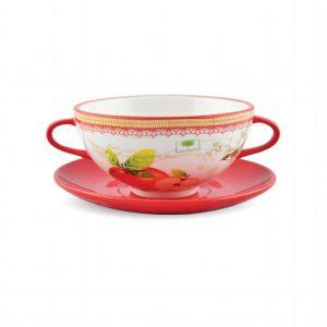 Чашка суповая с блюдцем Яблоки