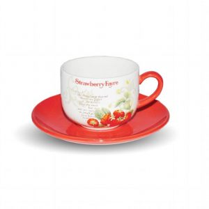 Чашка с блюдцем Земляника