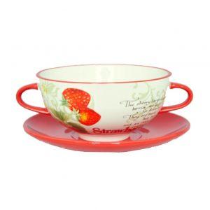Чашка суповая с блюдцем Земляника