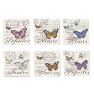Набор из 6 подставок под стаканы Бабочки