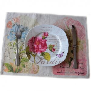 Льняной ланчмат Розовые и голубые цветы