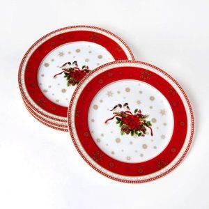 Набор из четырех десертных тарелок Счастливый Новый Год