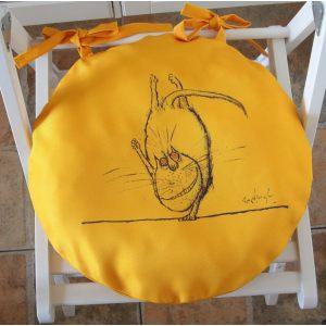 Круглая сидушка Желтый кот 4