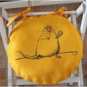 Круглая сидушка Желтый кот 5