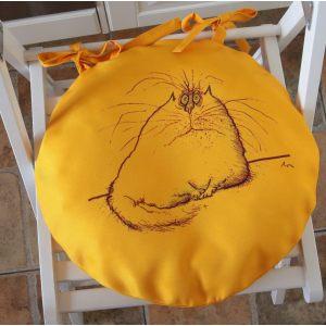 Круглая сидушка Желтый кот 3