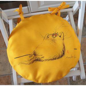 Круглая сидушка Желтый кот 1