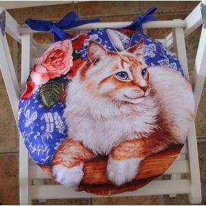 Круглая сидушка Котик дачный
