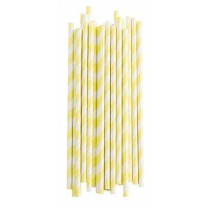 Трубочки для напитков желтые в полоску