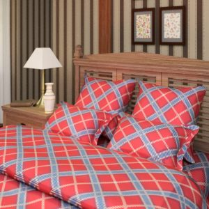"""Комплект постельного белья """"Шотландка"""" красный"""