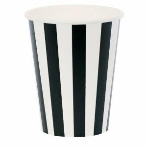 Бумажный стакан в черную полоску
