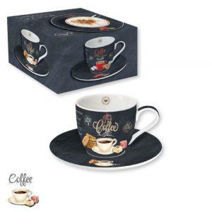 """Чашка с блюдцем """"Белая чашка"""" Итальянский кофе 250 мл"""