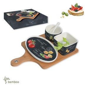 Набор для закуски Мир сыров: чаша с ложкой, салатник, блюдо, поднос