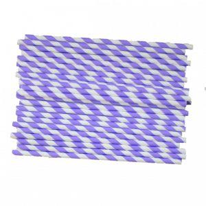 Трубочки для напитков в фиолетовую полоску