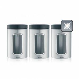 Набор контейнеров Brabantia с окном (3 предмета по 1,4л) - Matt Steel Fingerprint Proof (матовая сталь с защитой от отпечатков пальцев)