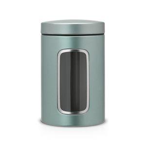 Контейнер для сыпучих продуктов с окном Brabantia 1,4л - Metallic Mint (мятный металлик)