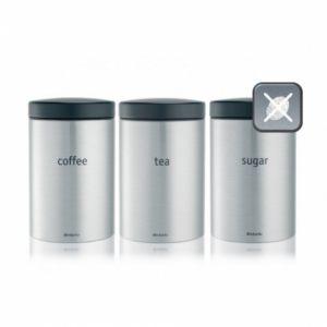 Набор контейнеров для кофе, чая и сахара Brabantia (3 предмета) - Matt Steel Fingerprint Proof (матовая сталь с защитой от отпечатков пальцев)