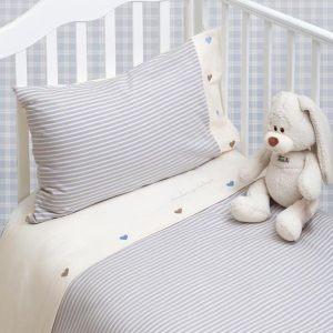 Комлект детского постельного белья, голубой-экрю