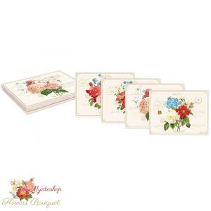 Набор из четырех подставок под горячее на пробковой основе Букет цветов