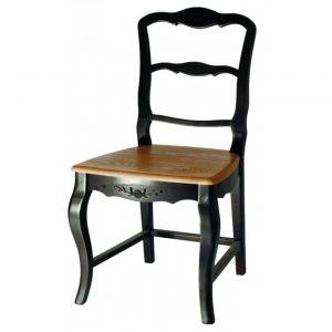 Стул с деревянным сиденьем Mobiler de Maison Saphir noir
