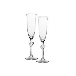 Набор: 2 бокала для шампанского Amour (белые сердца)