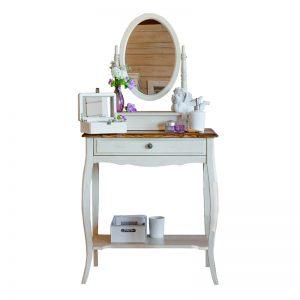 """Макияжный столик с  овальным зеркалом Mobiler de Maison Blanc bonbon """"Белая карамель"""""""