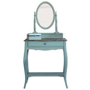 """Макияжный столик с  овальным зеркалом Mobiler de Maison Bleu aquamarine """"Морской голубой"""""""