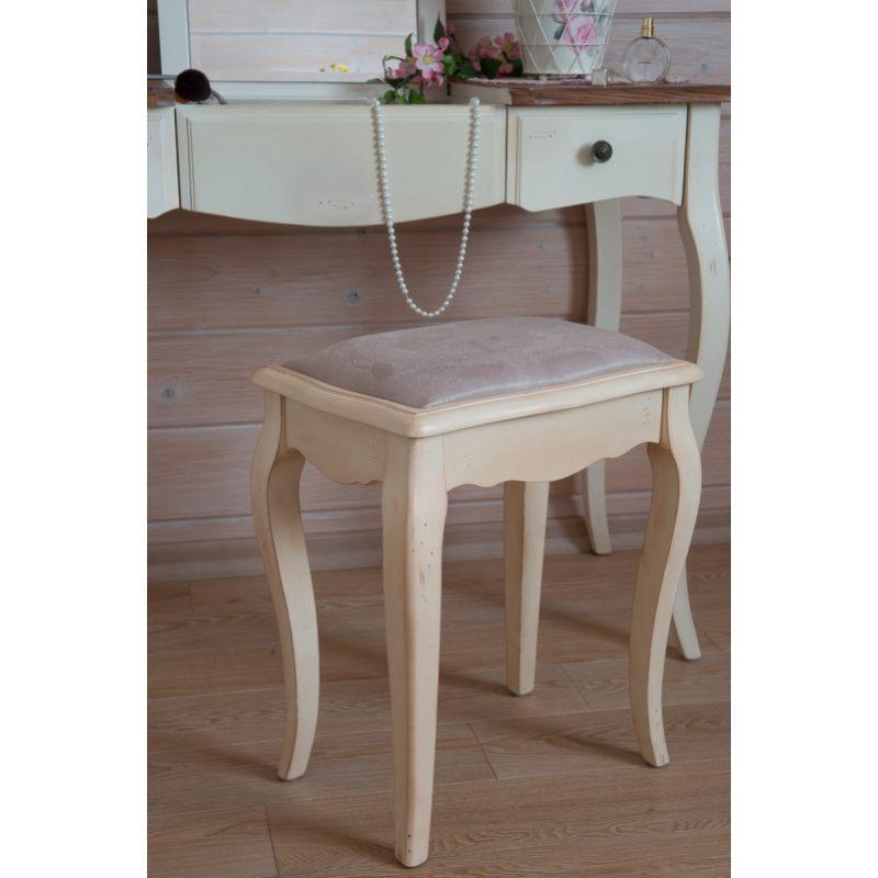 """Табурет с мягким сиденьем к макияжному столику Mobiler de Maison Blanc bonbon """"Белая карамель"""""""