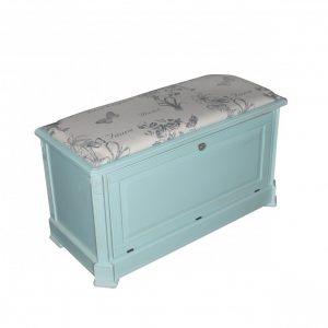 """Сундук-пуф с мягким сиденьем Mobiler de Maison Bleu aquamarine """"Морской голубой"""""""
