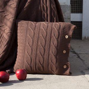 """Вязаная наволочка """"IMPERIO 233"""", коричневая замша, табачный, шоколад"""
