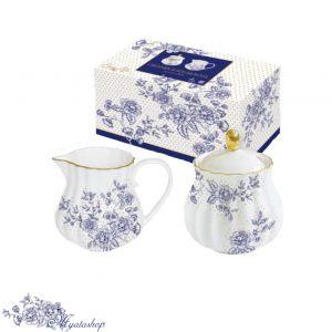 Сахарница с молочником Роял BLUE PEONIES (синие цветы)