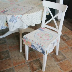 """Двухсторонняя сидушка на стул """"Туманное письмо"""""""