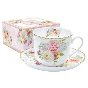 Чашка с блюдцем Цветочная романтика
