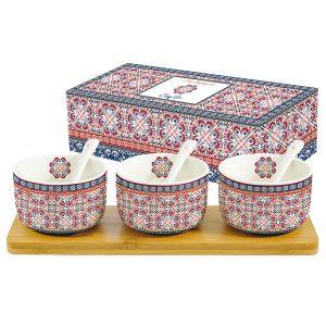 Набор для закуски: 3 салатника с 3 ложками на подносе Мавритания