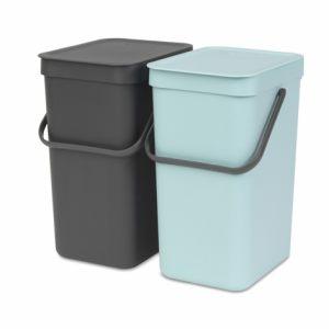 Набор ведер для мусора Brabantia SORT&GO – Mint/ Grey (мятный/серый)