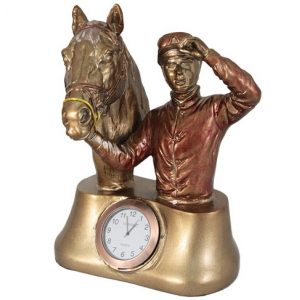 "Часы настольные Lisheng ""Бюст Жокей с лошадью"""