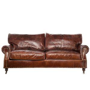 Трехместный диван из натуральной кожи Maxwell