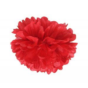 Цветок бумажный красный 35см