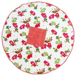 Полотенце круглое Зимний сезон в красном