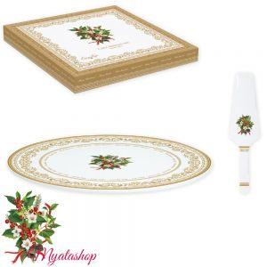 Блюдо для торта с лопаткой Christmas holly
