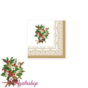 Бумажные салфетки Christmas holly