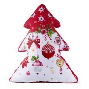 Елка-подушка Елочные игрушки красные