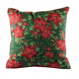 Подушка Пуансетия красная на зеленом