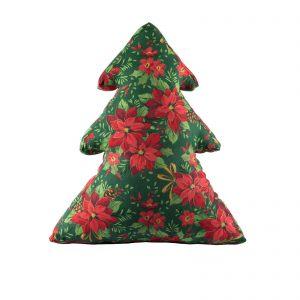 Елка-подушка Пуансетия красная на зеленом