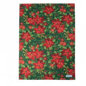 Полотенце Пуансетия красная на зеленом
