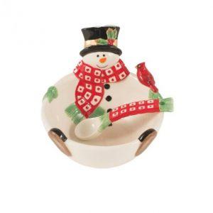 """Чаша с ложкой """"Снеговик в лесу"""" 13 см"""