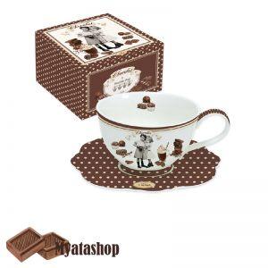 Чашка с блюдцем для горячего шоколада Vintage chocolate